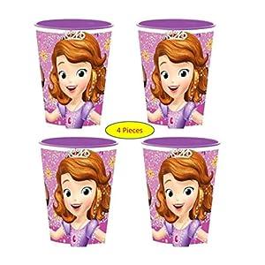 Theonoi 4 x Kinder Trinkbecher 260 ml Eisprinzessin Glas Kunststoff BPA frei – Geschenk für Mädchen (4 x Frozen)
