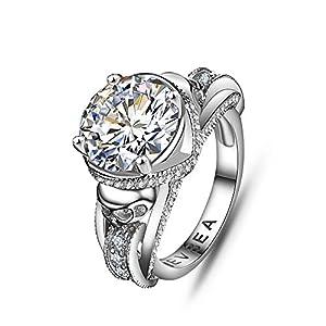 EVBEA Verlobungsring für Damen, mit Totenkopf-Motiv, einzigartiger, glitzernder Ring mit Strasssteinen, Cocktail-Ring