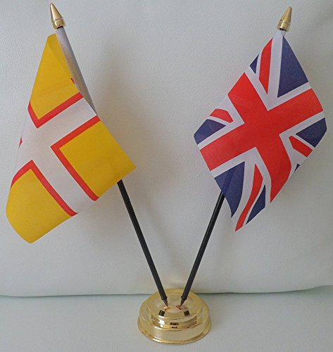 Dorset County Kreuz, Union-Jack-Flagge, Freundschaft Tabelle 2-Kopf mit goldfarbenem Sockel -