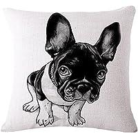 Milnut Animal Series Funda de Cojín Funda de Almohada Algodón Lino Funda de Almohada Cuadrada Funda de Almohada Bulldog Negro