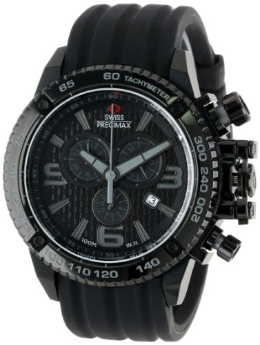 Swiss Precimax Men's SP13239 Forge Pro Sport Black Dial with Black Silicone Band Watch
