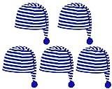 Das Kostümland Schlafmütze für Kinder Blau Weiß 5er Set