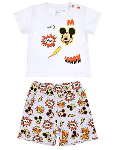 a79701d6ff8 Ensemble Short et T-Shirt bébé garçon Mickey Blanc Gris Orange de 3
