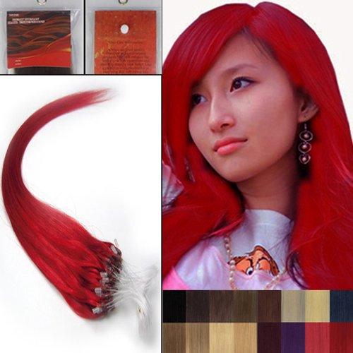 40,6 cm droite à pointe Boucles Micro Anneaux Perles Rouge extenions de cheveux humains 100s Femmes Beauté multicolores Style Design 0,4 G/S