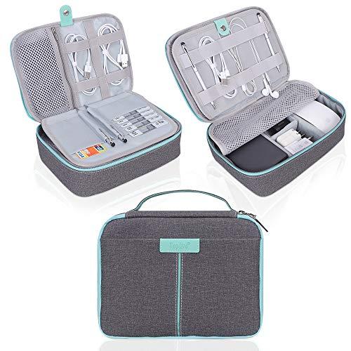 r Travel Cable Organizer, Toplive Electronics-Zubehörtasche Travel Gadget Bag zum Aufladen von Kabeln, USB-Laufwerk, Maus, Energienbank, Tablet (bis zu 8 Zoll),Dunkelgrau-Mintgrün. ()