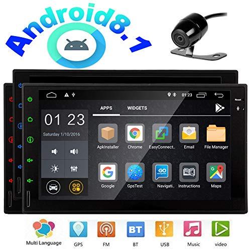 EINCAR Rückseiten-Kamera Android 8.1 Oreo-Auto-Player ohne DVD/CD Stereos IN Dash Doppel-DIN-GPS-Navigation Quad-Core-Bluetooth-7-Zoll-Touchscreen-Monitor-Unterstützung WiFi OBD Spiegel Link-Du