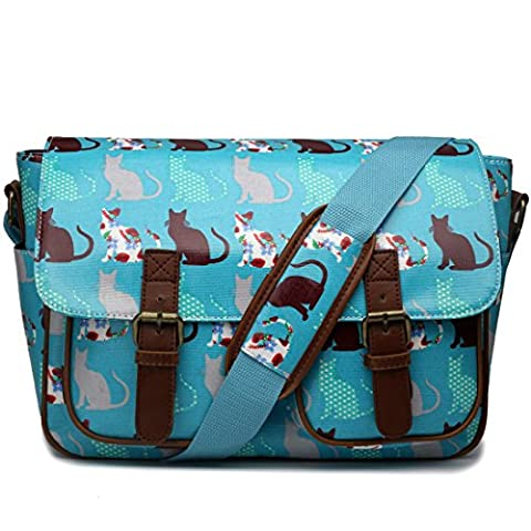 MISS LULU OILCLOTH OWL SKULL FLORAL POLKA DOTS CROSS BODY SATCHEL SHOULDER HAND SCHOOL BAG (Cat Teal)