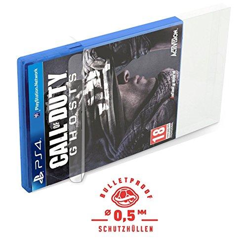 10 Klarsicht Schutzhüllen PLAYSTATION 4 [10 x 0,5MM [ARMOURED] PS4 OVP] Spiele Originalverpackung Passgenau Glasklar