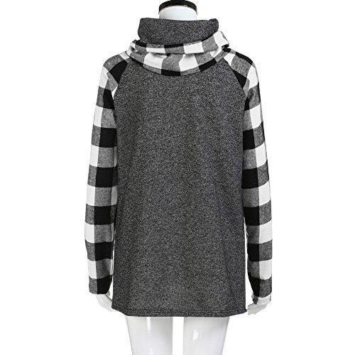 Sunenjoy Femmes Col Roulé Tops Plaid Manches Chic Chemises Tunique À Manches Longues Pull Printemps Été Casual Sweatshirt Noir