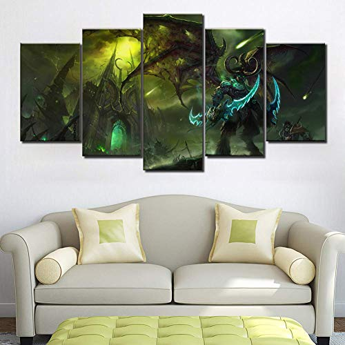BOYH Modular Segeltuch HD-Druck Malerei 5 Stücke Warcraft Illidan Poster Wand Kunst Wohnzimmer Haus Dekoration,B,20×35×2+20×45×2+20×55×1
