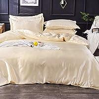 Generic Silk Flat King Bedsheet Quilt Cover Set, Cream, 230 x 250 cm, VG-4BS-SILK-C