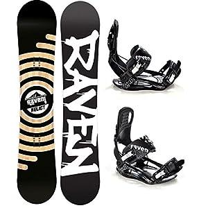 Raven Snowboard Set: Snowboard Relict + Bindung s220 Black XL
