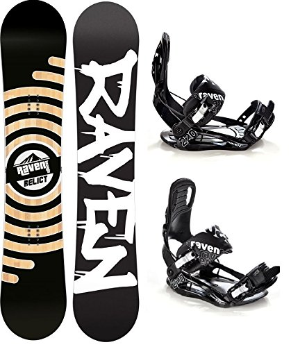 Raven Snowboard Set: Snowboard Relict + Bindung s220 Black XL (162cm Wide)