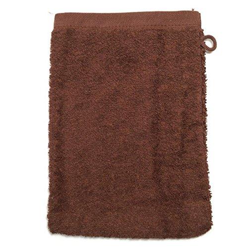 Gant de toilette en éponge marron, 500 g/m2 gants 15 x 21 cm