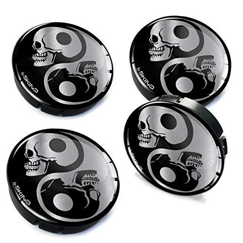 4 x 60mm Coprimozzi Copricerchi Tappi Ruote Auto Logo Stemma Yin Yang Skull Teschio C 82