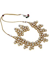 Aradhya Traditional Designer Kundan Jewellery Necklace Set With Earrings And Maang Tikka For Women And Girls By...