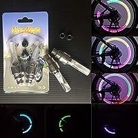 ICYCHEER - 2 unidades de válvula de neumático de neón LED multicolor para coche, bicicleta, bicicleta, rueda, neumático, válvula de neumático