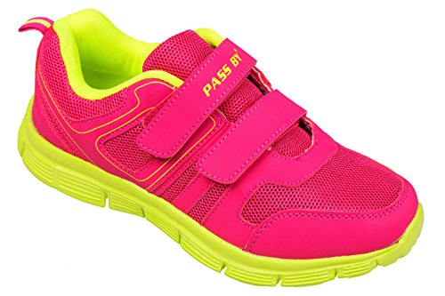 GIBRA chaussures de sport avec fermeture velcro-rose/jaune fluo taille 36 à 41 Rose - pink/neongelb