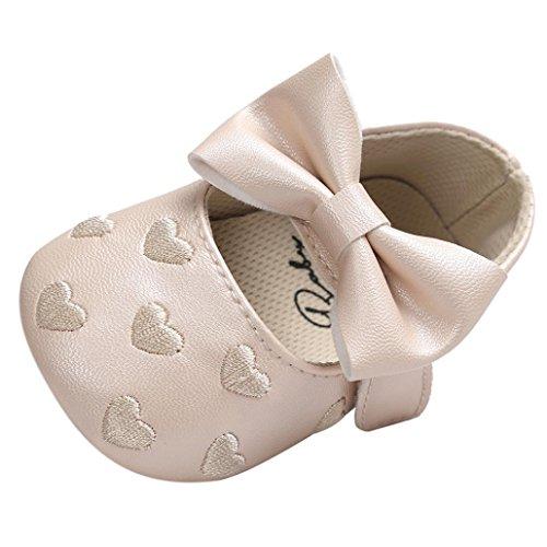 JERFER Baby Schuhe Mädchen Bowknot-Lederner Schuh-Turnschuh Anti-Rutsch Weiches Solekleinkind für 0-18 Monate (6M, Khaki) (Personalisierte Baby-mädchen-schuhe)