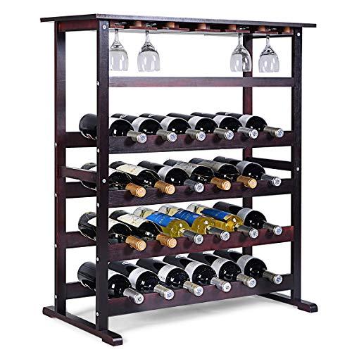 COSTWAY Weinregal Holz, Flaschenregal für 24 Flaschen, Gläserregal Flaschenständer, Weinständer mit Weinglashalter, Flaschenständer 80 x 41,5 x 90,5 cm