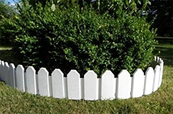 Zaun 4 tlg. Rasenkanten Beeteinfassung Palisade Beetumrandung Garten Rasen Zierzaun Gartenzaun weiß 2,36 m und Sichthöhe von 18 cm