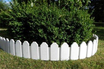 *Schöner Zaun im Set Rasenkanten Beeteinfassung Palisade Beetumrandung Garten Rasen Zierzaun Gartenzaun weiß 2,36 m und Sichthöhe von 18 cm*
