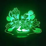 Lampada 3D Topolino E Minnie Danza Animazione Cartuccia A Batteria Dropship Miglior Regalo Per La Lampada Della Luce Notturna A Led Usb Di Natale