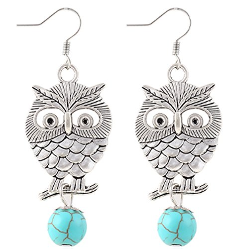 SaySure - White Silver Plated Pierced Flower Metal Owl Turquoise