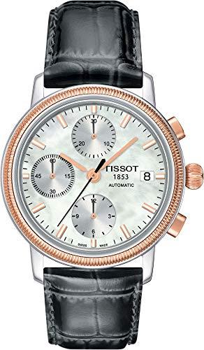 TISSOT - Montre Homme Tissot Bridgeport Automatique T71147871 Bracelet Cuir Anthracite - T71147871