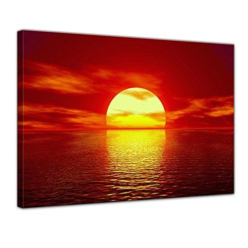 Keilrahmenbild - Sonne - Bild auf Leinwand - 120x90 cm 1 teilig - Leinwandbilder - Bilder als Leinwanddruck - Urlaub, Sonne & Meer - Sonnenuntergang über dem Meer (Was Ist Die Bedeutung Der Produktion)