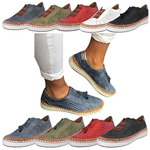 Sportschuhe für Damen/Dorical Frauen Slip on Sneakers, Casual Hohle-Heraus Round Toe Schuhe, Bequeme Sneaker Slipper, Halbschuhe,Sportlich Flats Damenschuhe(Z02-Blau,36 EU)