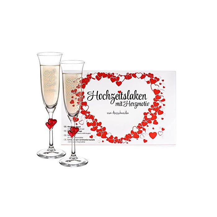 Casa Vivente Geschenkset – Hochzeitslaken – Sektgläser mit roten Herzen und Gravur – Motiv: Ringe – Personalisiert mit…
