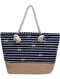 Vintga Large Beach Bag Zipper Pocket Print Canvas Tote With Top Rope Handles Shoulder Bag Travel Tote Bag For...