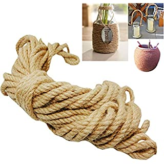 Liuer 100% Natural Jute Rope,Hemp Rope 8mm - 20m(65.6ft) - Twine Hemp Cord Multi Purpose Utility Rope Durable for Gardening Applications,Pets,Camping Rope,Plants,Hanging,and Decorating