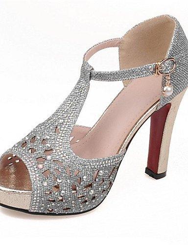 LFNLYX Chaussures Femme-Mariage / Habillé / Décontracté / Soirée & Evénement-Noir / Argent / Or-Gros Talon-Talons-Sandales-Matières Silver