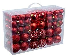 Idea Regalo - Unbekannt Esclusivo palline di Natale con 100 palline natalizie Set pz colore rosso