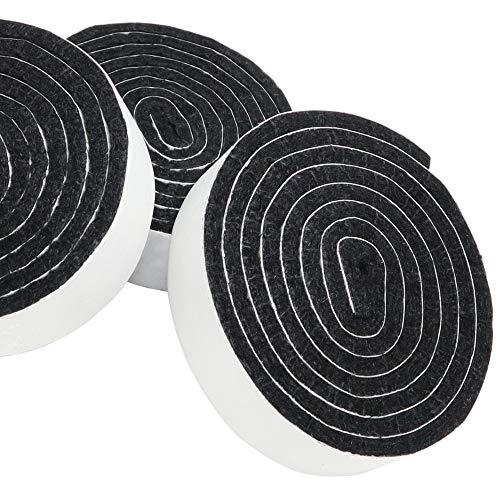 Adsamm® | 3 x selbstklebende Filzbänder zum Zuschneiden | 19x1000 mm | Schwarz | Rolle | 3.5 mm starker selbstklebender Filzzuschnitt in Top-Qualität -