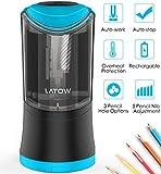 LATOW 001B Elektrischer Anspitzer, 3 Loch Größen und 5 Nib Gang Anpassung Bleistiftspitzer, geschärft automatisch stoppt für Stift 6/8/10/12 mm, 18650 Akku Batterie oder USB betrieben(enthalten)-Blau