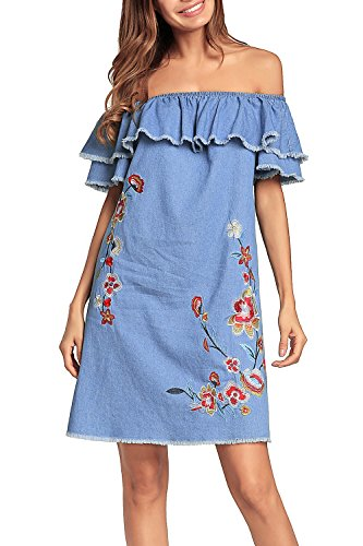 La Mujer Casual Camisa Denim Bordado Ruffle Off Shoulder Mini Dress Blue M