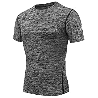 AMZSPORT Herren Kompressions-Shirt Kurzarm Funktionsshirts TOP Grau XL