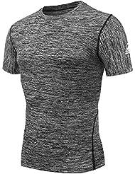 AMZSPORT Camiseta de compresión de mangas corta para hombre Deportes de Secado Rápido Funcionamiento Baselayer DX10 M