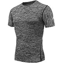 AMZSPORT Camiseta de compresión de mangas corta para hombre Deportes de Secado Rápido Funcionamiento Baselayer AMZ-DX05