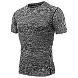 AMZSPORT Herren Kompressions-Shirt Kurzarm Funktionsshirts TOP Grau XXL