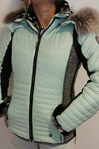 Sportalm Kitzbühel Damen Ski Jacke mit Echt Pelz Greenwood Mint Schwarz Größe 40 L Neu mit Etikett