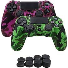 YoRHa Transferencia de agua camuflaje de impresión silicona caso piel Fundas protectores cubierta para Sony PS4/slim/Pro Mando x 2(verde + rosa oscuro) Con PRO los puños pulgar thumb gripsx 8