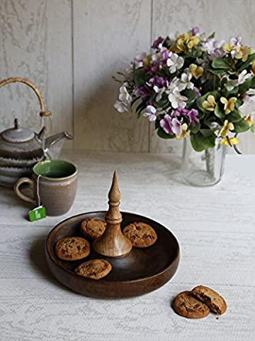 Diwali Gifts, Round Shaped Cheese Biscuits Serving Tray Platter Hand Carved Wooden Serveware Kitchen