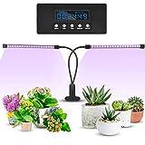 slopehill Doppelkopf Pflanzenlampe mit Zeitfunktion, Automatische EIN- / Ausschalten, 3 Arten von Modus. 5 Arten von Helligkeit, 20W Pflanzenlicht Wachsen licht Pflanzenleuchte Wachstumslampe