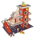 Janod Holzspielzeug - Spielset Feuerwehr Station Autos Hubschrauber 10 Teile, Mehrfarbig
