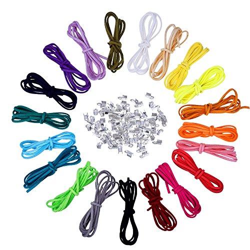 3 mm Lederschnur Faux Wildleder String Threads mit 100 Stück Silver Cord Enden, 20 Meter, 20 Farben
