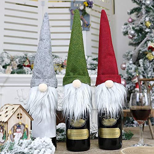 FafSgwq Navidad Gnomo Champaña Botellas De Vino Cubierta